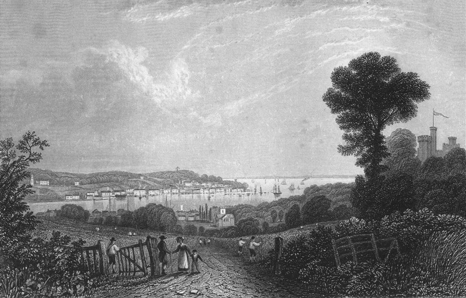 Associate Product ISLE OF WIGHT. Cowes, Bartlett c1840 old antique vintage print picture