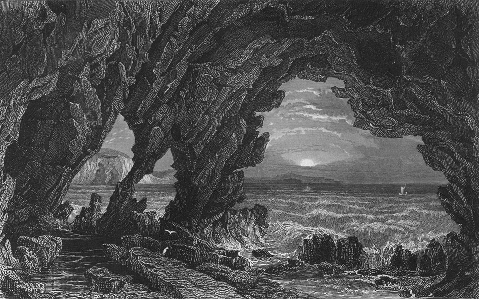 Associate Product ISLE OF WIGHT. Freshwater Cave c1840 old antique vintage print picture
