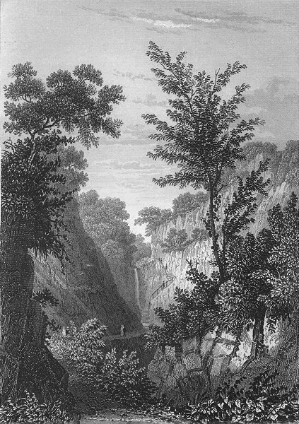IOW. Head of Shanklin Chine c1840 old antique vintage print picture