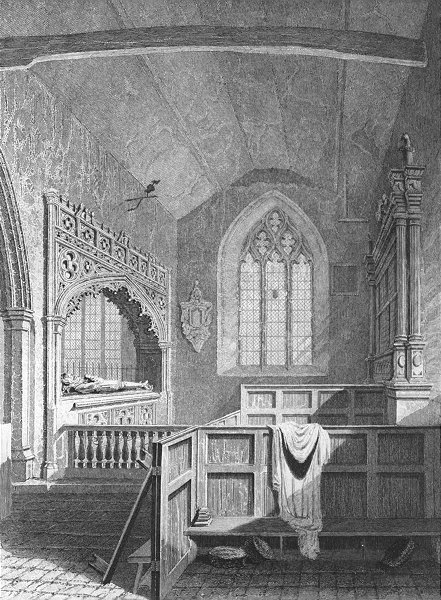 Associate Product BUILDINGS. Godshill Church c1840 old antique vintage print picture