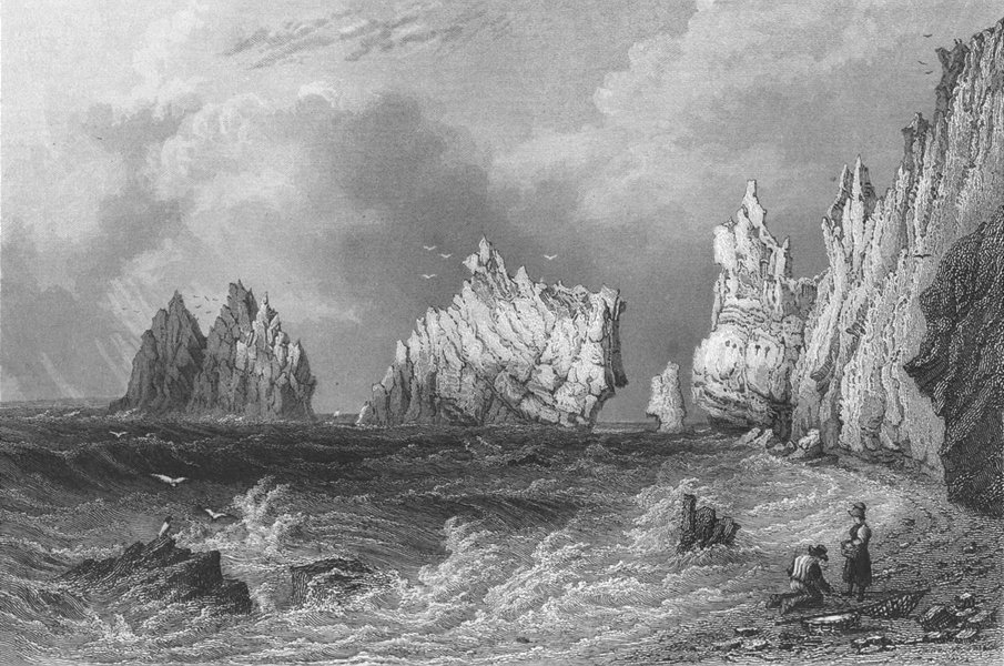 Associate Product IOW. The Needles from Scratchells Bay c1840 old antique vintage print picture