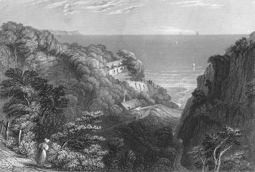 Associate Product IOW. Shanklin Chine-Bartlett c1840 old antique vintage print picture