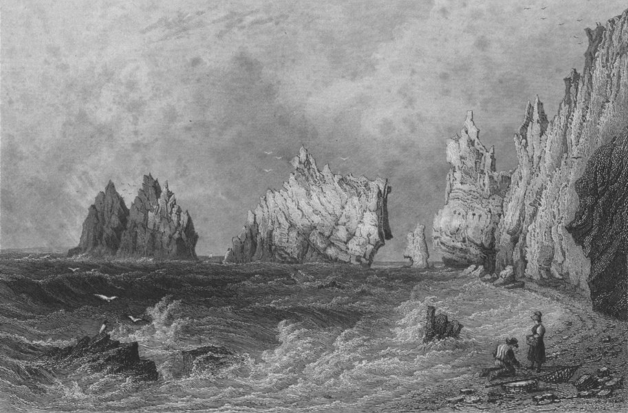 IOW. Needles from Scratchells Bay-Bartlett c1840 old antique print picture