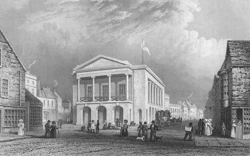 Associate Product TOWNS. Town Hall, Newport c1840 old antique vintage print picture
