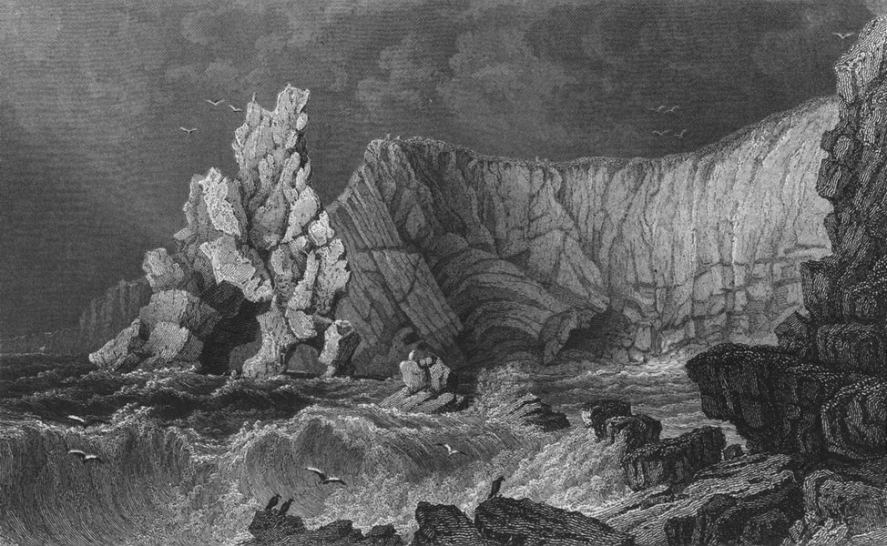 Associate Product IOW. View near Freshwater Bay c1840 old antique vintage print picture