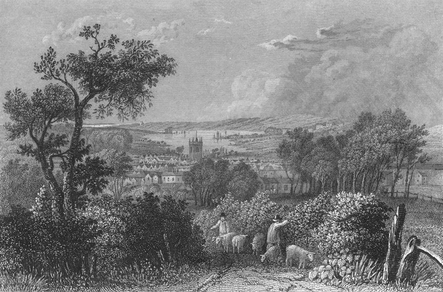 Associate Product IOW. Newport from the South c1840 old antique vintage print picture