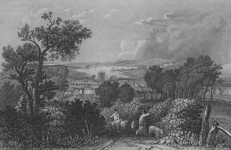 Associate Product IOW. Newport from the South-Bartlett c1840 old antique vintage print picture