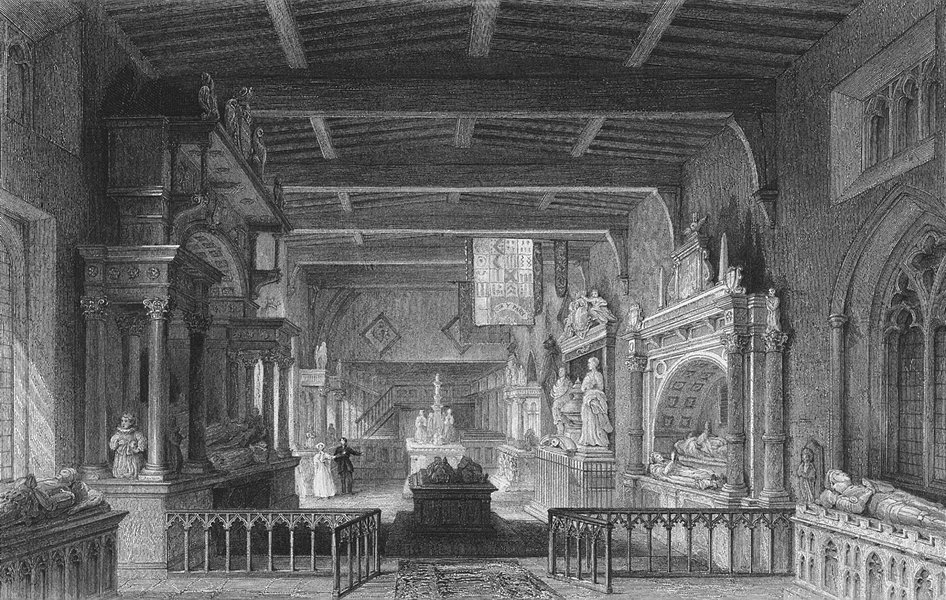 Associate Product Leics. Bottesford Church, Monuments earl Rutland  1836 old antique print