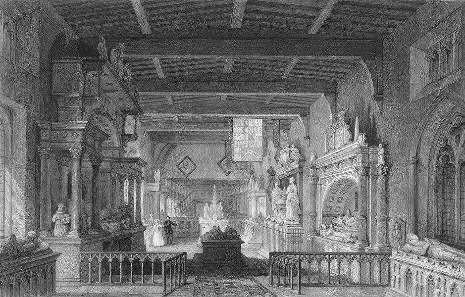 Associate Product Leics. Bottesford Church, Monuments earl Rutland 1837 old antique print