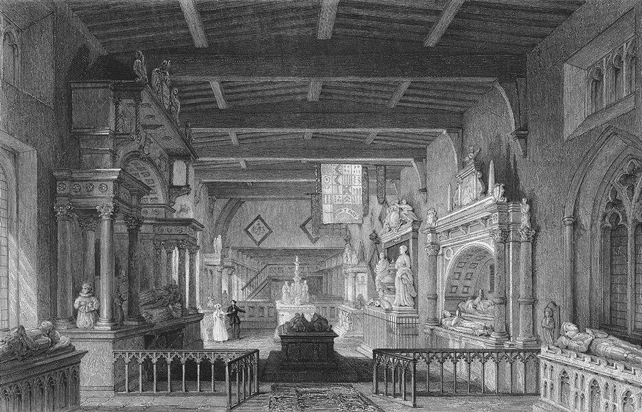 Associate Product Leics. Bottesford Church, Monuments earl Rutland c1840 old antique print