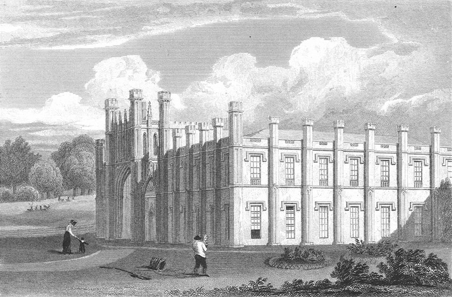 Associate Product LEICS. Donnington Hall, Leicestershire. Jones 1822 old antique print picture