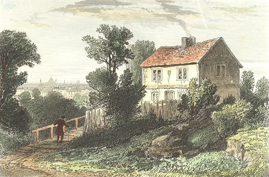 Associate Product HAVERSTOCK HILL. Ex House Richard Steel, Hampstead  1835 old antique print