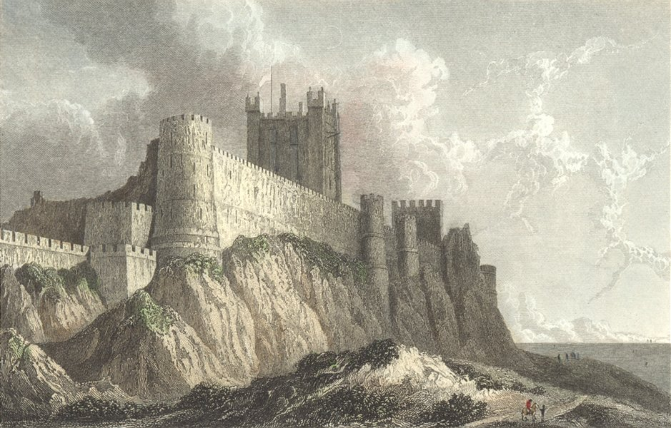 NORTHUMBS. Bamburgh Castle. Westall c1833 old antique vintage print picture