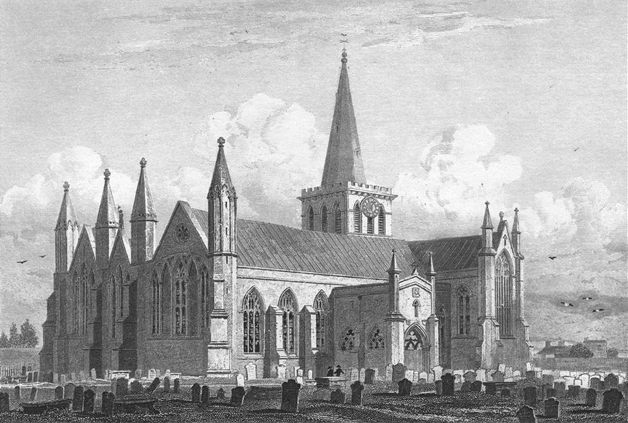 Associate Product YARMOUTH. Church, SW view. INGHAM. Le Keux Churches 1824 old antique print