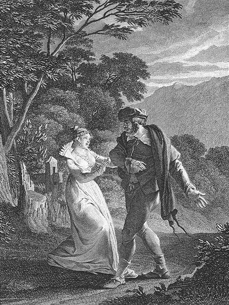 Associate Product ROMANCE. Man & woman arguing; Bégueule c1800 old antique vintage print picture