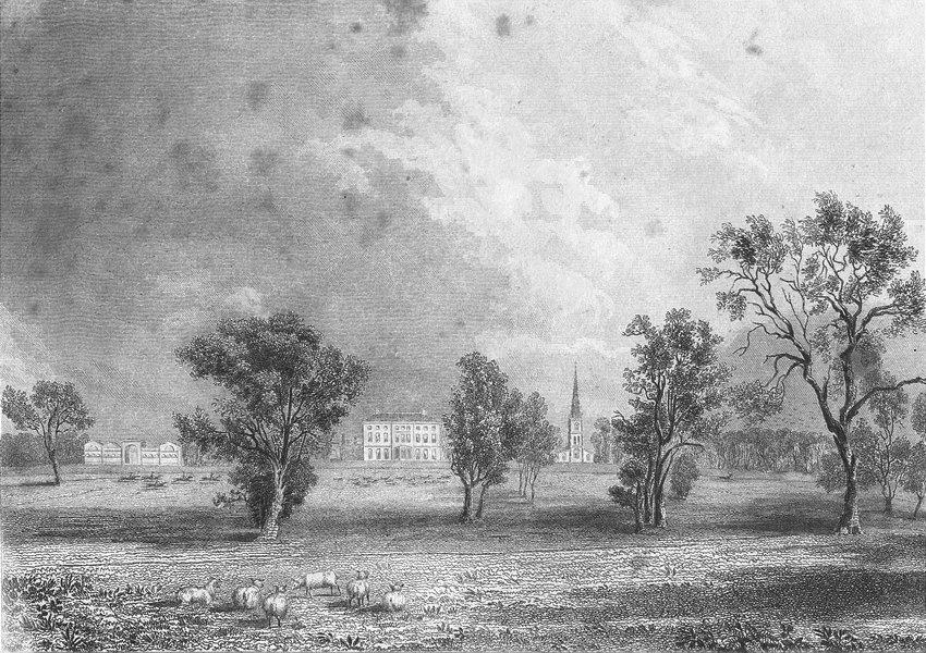 Associate Product LINCS. Leadenham. Saunders Sheep grazing Hunt 1836 old antique print picture