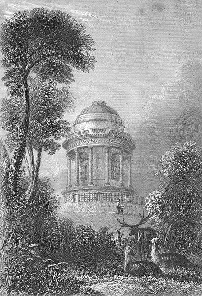 Associate Product LINCS. Mausoleum, Brocklesby Park. Saunders Deer 1836 old antique print