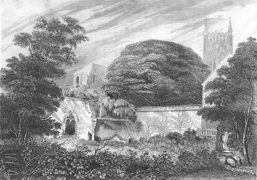 Associate Product LINCS. Palace ruins Lincoln. Saunders 1836 old antique vintage print picture