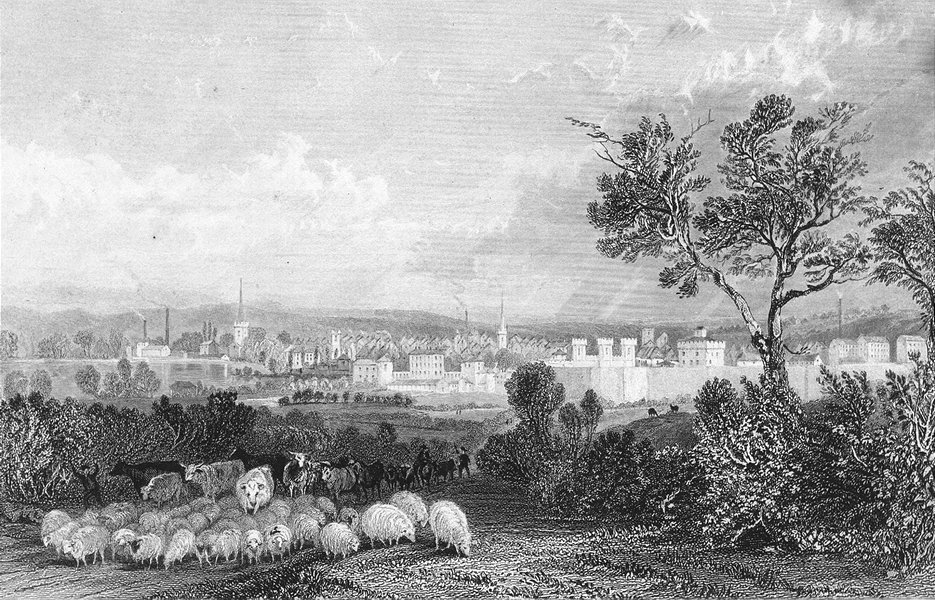 Associate Product LEICS. Leicester. Allom 1836 old antique vintage print picture