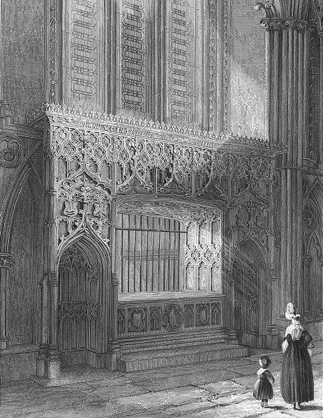 Associate Product LINCOLN. cathedral Bishop Longlands monument 1836 old antique print picture