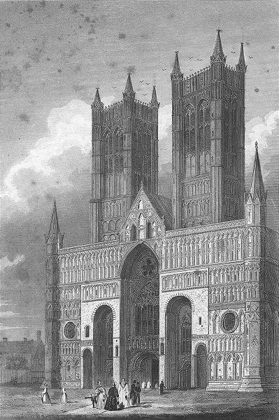 Associate Product LINCS. Lincoln cathedral. Saunders Front view 1836 old antique print picture