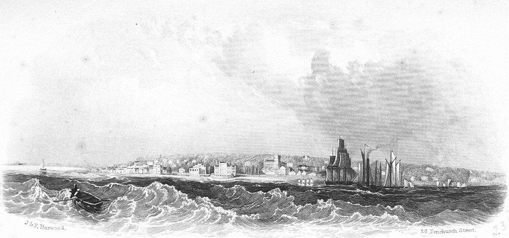 Associate Product ISLE OF WIGHT. Cowes. IOW Harwood Sea 1850 old antique vintage print picture