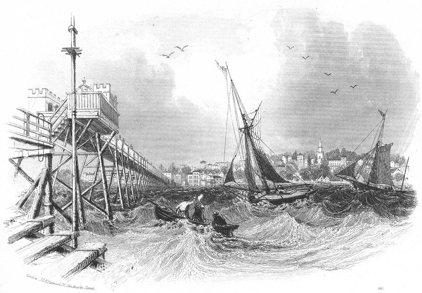 Associate Product RYDE. Pier Sea. IOW Harwood town boats 1841 old antique vintage print picture