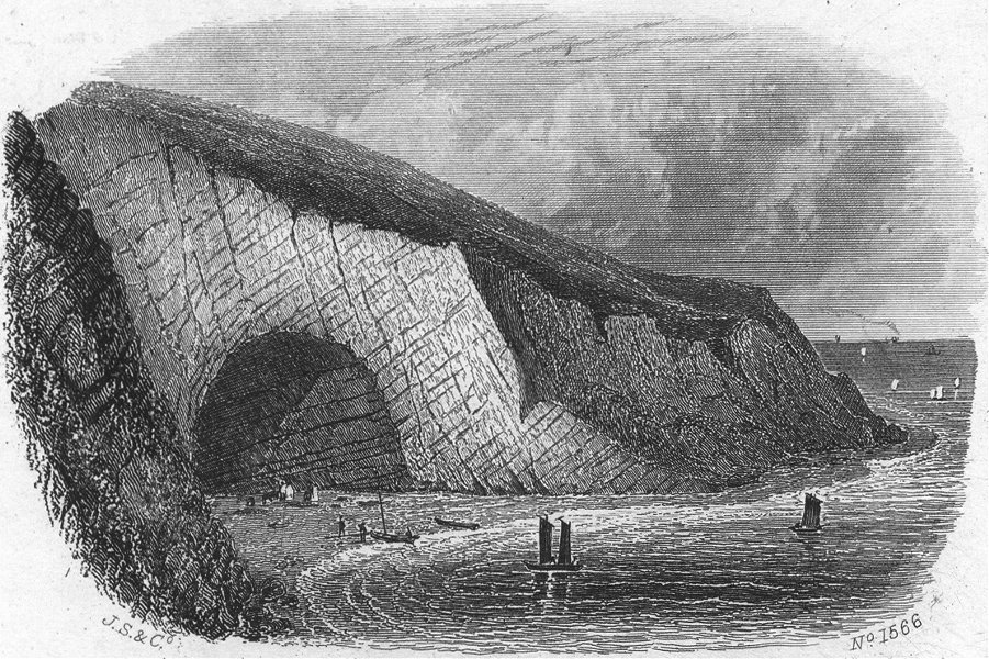 Associate Product IOW. Scratchell's Bay c1850 old antique vintage print picture