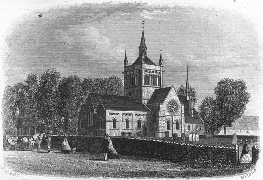 Associate Product IOW. Whippingham Church, Isle of Wight c1850 old antique vintage print picture