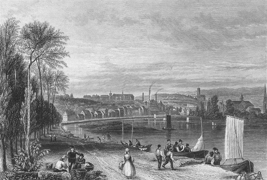 Associate Product BELGIUM. Liège. FUSSEL river boats 1840 old antique vintage print picture