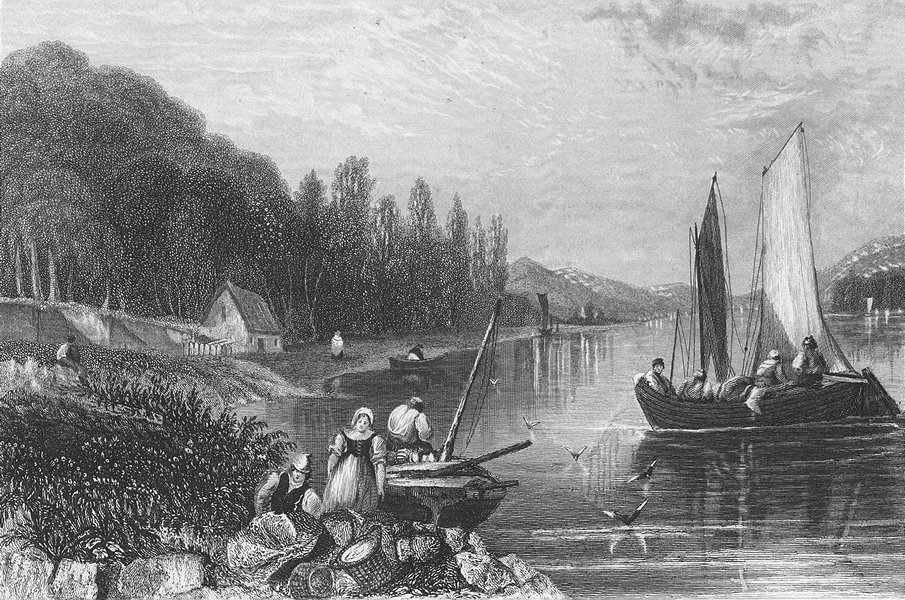 Associate Product BELGIUM. View Choquier. Salmon river boats 1840 old antique print picture