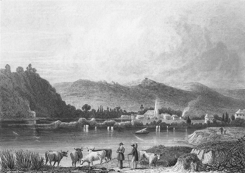 Associate Product BELGIUM. View Rouillon. Fussell river cows 1840 old antique print picture