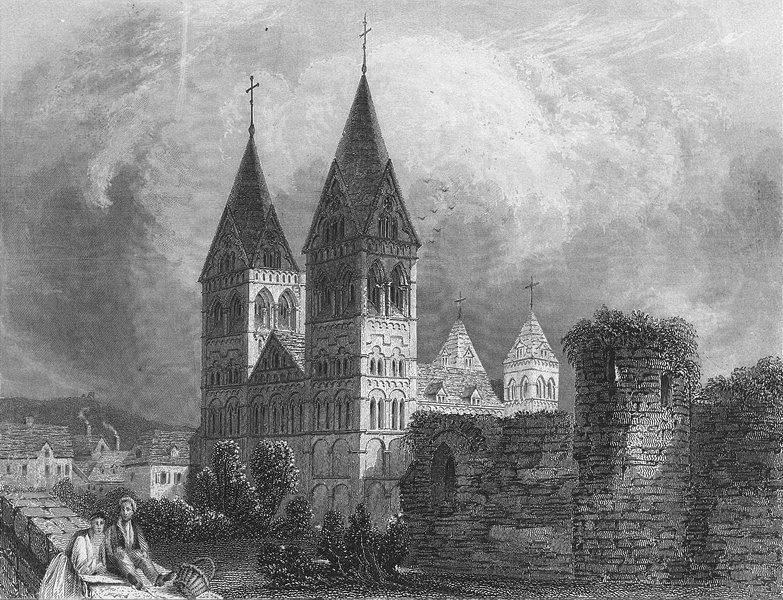 Associate Product GERMANY. Andernach. Shepherd cathedral 1840 old antique vintage print picture