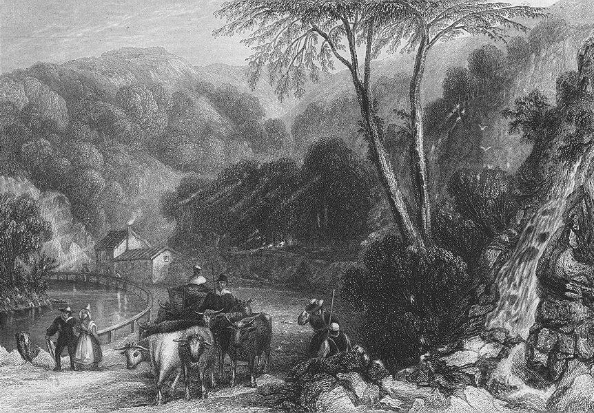 Associate Product BELGIUM. View Theux. Shepherd Ox cart 1840 old antique vintage print picture