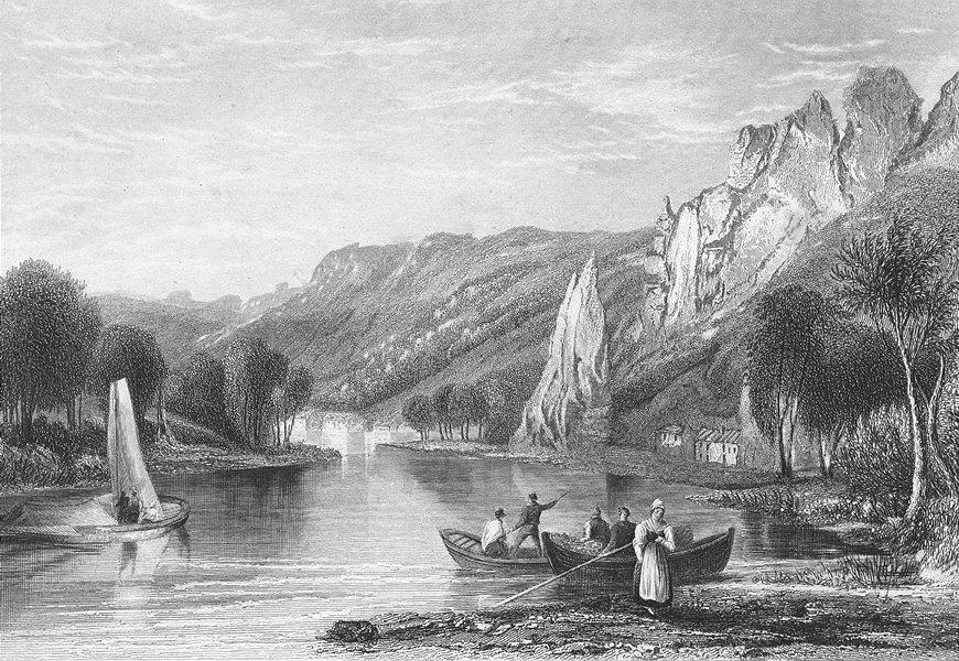 Associate Product BELGIUM. Dinant. SALMON river boats 1840 old antique vintage print picture