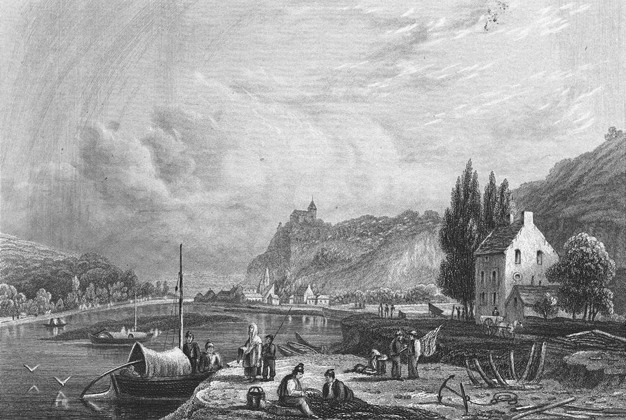 Associate Product BELGIUM. Choquier. Fussell river boats 1840 old antique vintage print picture