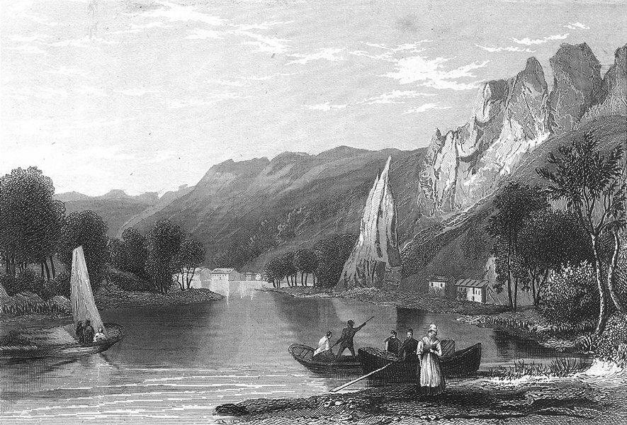 Associate Product BELGIUM. Dinant. Wolfe. river Meuse Rowing boats 1844 old antique print