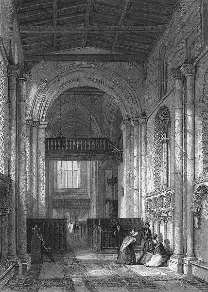 Associate Product LINCS. Stow Church, Lincolnshire. Allom 1836 old antique vintage print picture