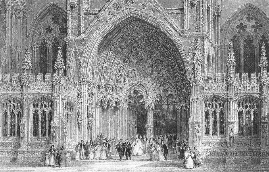 Associate Product LINCS. Entry to Lincoln cathedral. Allom 1850 old antique print picture
