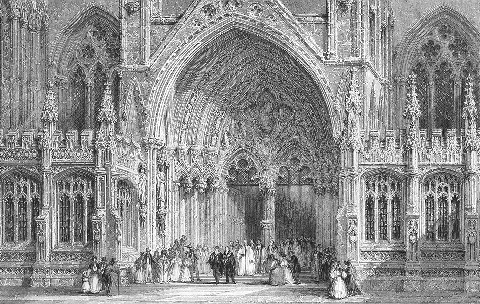 Associate Product LINCS. Entry to Lincoln cathedral. Allom 1836 old antique print picture