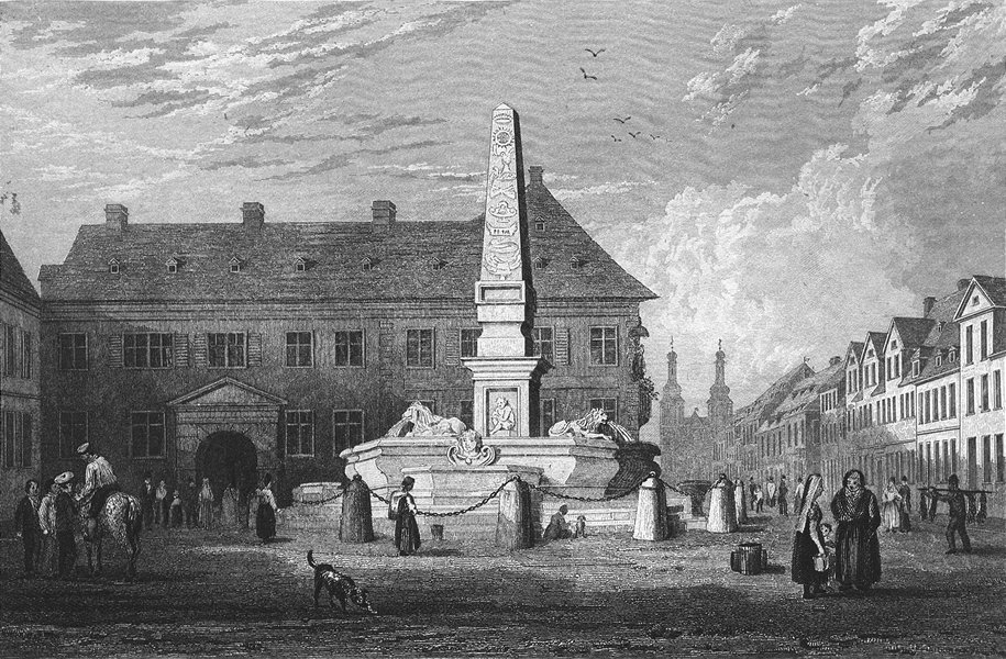Associate Product GERMANY. Fountain, Mainz. Tombleson CLOSE 1840 old antique print picture