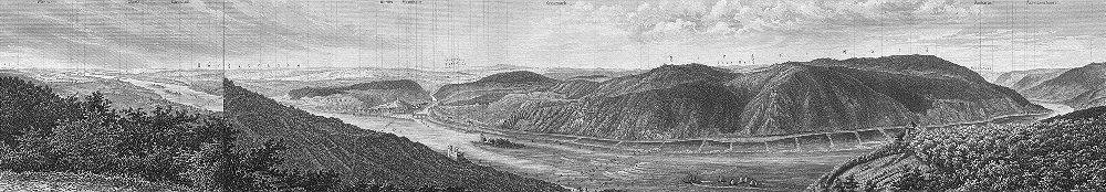 Associate Product GERMANY. Aussicht Tempel; Panorama Rossel Niederwald 1860 old antique print