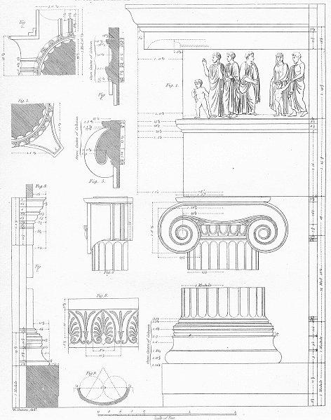 Associate Product ATHENS. Architecture Ionic temple, river Ilyssvs c1849 old antique print