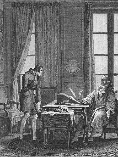 Associate Product PORTRAITS. man seated desk quills standing c1800 old antique print picture