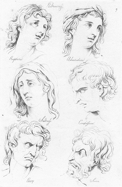 Associate Product RAPTURE. Admiration; Sad; Compassion; Envy; Scorn c1830 old antique print
