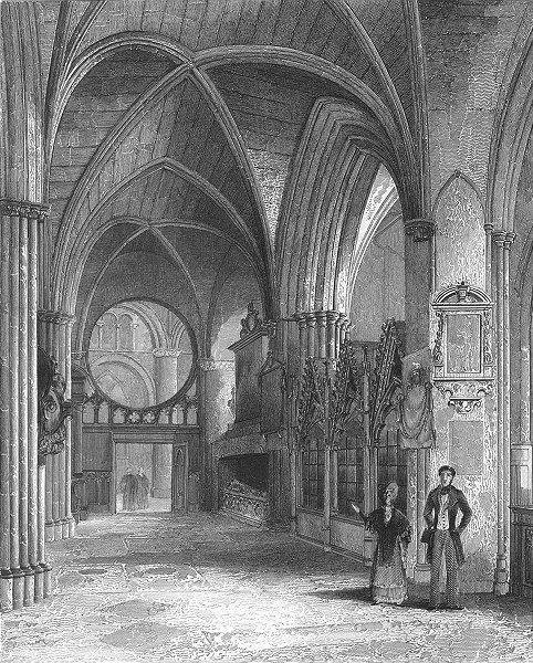 Associate Product OXON. Oxford cathedral North Aisle of Choir 1836 old antique print picture
