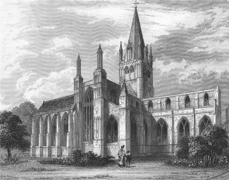 Associate Product OXON. Oxford cathedral NW view 1860 old antique vintage print picture