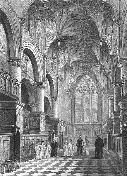 Associate Product OXON. Oxford cathedral Choir 1860 old antique vintage print picture