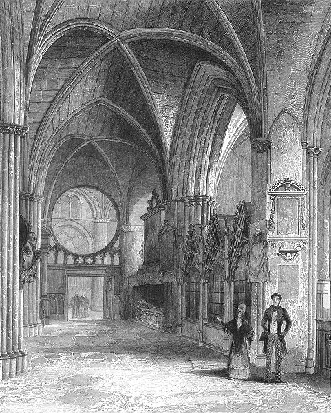 Associate Product OXON. Oxford cathedral North Aisle of Choir 1851 old antique print picture