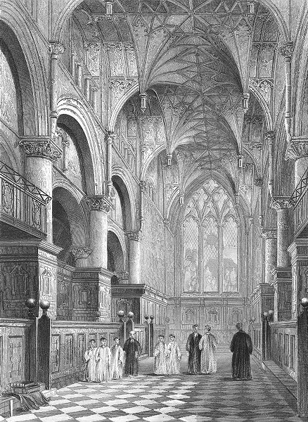 Associate Product OXON. Oxford cathedral Choir 1851 old antique vintage print picture